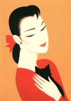 "Ichiro Tsuruta (Japanese, b. 1954) - ""A black cat"", 1995 - Silkscreen"