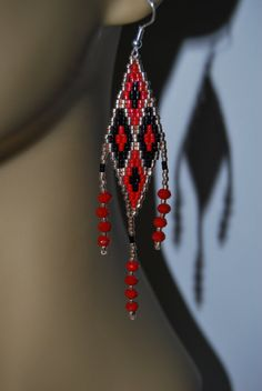 Stunning gold black red delica seed beaded 3 plus inch hand beaded earrings