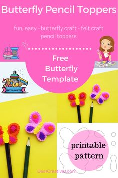 Butterfly Pencil Topper - Make a pencil topper out of felt. Felt craft for Kids, Teens or Adults - DIY Butterfly craft with free butterfly template. Printable Butterfly, Butterfly Template, Butterfly Crafts, Adult Crafts, Crafts For Teens, Arts And Crafts, Pencil Toppers, Craft Free, Felt Diy