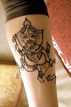 Mehndi Ganesh by HennaLounge Henna Tatoos, Tatoo 3d, Henna Tattoo Designs, Henna Mehndi, Mehendi, Mehndi Designs, Arm Tattoo, Sleeve Tattoos, Ganesh Tattoo