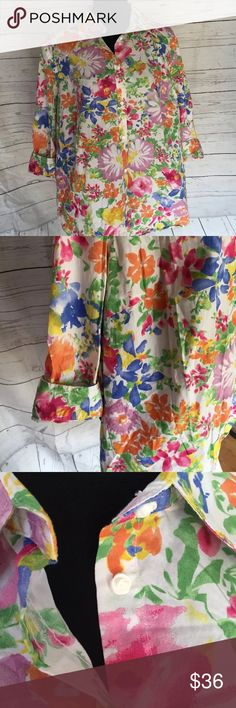 Chaps 2X floral 3/4 sleeve button down shirt EUC! Perfect for spring!!!  A little floral action makes a great statement.  Check out the beautiful rose shaped buttons, so sweet!!!  Flattering seams, great cut. Chaps  Tops Button Down Shirts