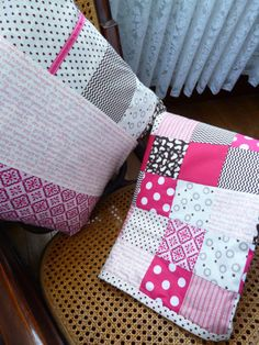 Patchwork cot quilt. pink and brown. great baby shower gift. nursery modern funky mummy