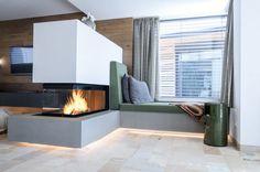 modern fireplace, room divider, M-design, 3 sides glass, glass: H: . Fireplace Shelves, Stove Fireplace, Fireplace Design, Fireplace Modern, Fireplace Glass, Fireplace Outdoor, Fireplace Remodel, Fireplace Ideas, Living Room With Fireplace