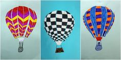 HORKOVZDUŠNÉ BALONY - zajímavě dekorovat obal balonu, rozstřihat ho podle svislých pruhů a ty opět ve stejném pořadí jen s rozsuvem lepit na modrý podklad, dokreslit zavěšený košík (kresba fixy, rozsouvání tvarů).