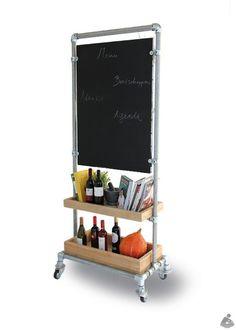 Kee Klamp shelf with chalkboard.
