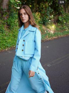 Gala Gonzalez, Fendi, Shirt Dress, Coat, Jackets, Blue, Shirts, Dresses, Fashion