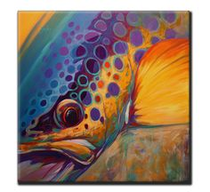 "Brown Trout Fly Fishing Tile Art - ""River Orchid"" - Savlen Studios"