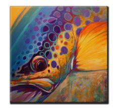 "Brown Trout Fly Fishing Tile Art - ""River Orchid"" - Savlen Studios"