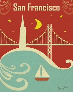 Graphic Silhouette of  San Francisco Bay Bridge at  Night  Art  Poster Print - Vertical Wall Art for Home, Office, Nursery - style E8-O-SF10
