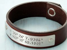 Valentines For Him - Mens Valentines Jewelry - Latitude and Longitude where we got engaged Personalized Leather Bracelet