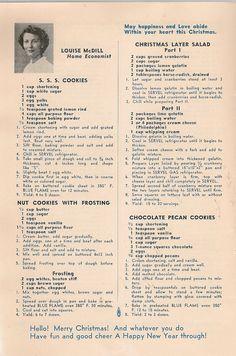 VINTAGE COOK BOOK Christmas Recipes 1950 The Gas door HazelCatkins