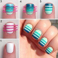 ombre stripes Cute Nail Art, Nail Art Diy, Easy Nail Art, Cute Nails, Pretty Nails, Diy Nail Designs, Simple Nail Designs, Nail Manicure, Diy Nails