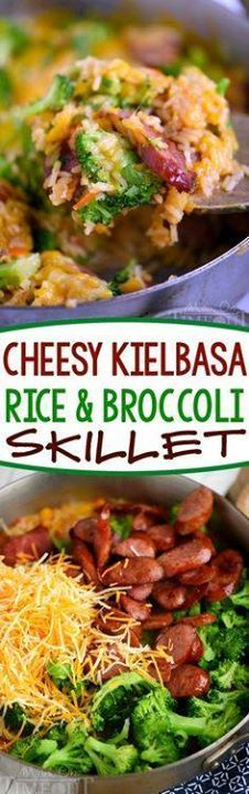 Cheesy Kielbasa Ric Cheesy Kielbasa Rice and Broccoli Skillet - your new favorite dinner! This easy skillet recipe comes together in a flash and is made in a single skillet for easy clean-up. Extra cheesy and just bursting with flavor its a dinner recipe youll find yourself making again and again. Sponsored by Hillshire Farm Recipe : ift.tt/1hGiZgA And My Pinteresting Life | Recipes, Desserts, DIY, Healthy snacks, Cooking tips, Clean eating, ,home dec  ift.tt/2v8iUYW  Cheesy Kielbasa Ric Cheesy Kielbasa Rice and Broccoli Skillet...