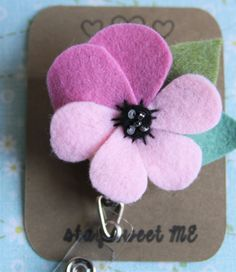 Pansy Retractable Name Tag Holder, Purple, Felt, Flower, ID, Namtag by…
