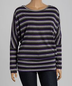 Another great find on #zulily! Purple & Gray Stripe Scoop Neck Top - Plus by Celeste #zulilyfinds