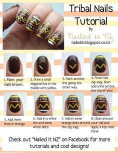Nailed It NZ: Nail art for short nails - Tribal nails - hair-sublime.com