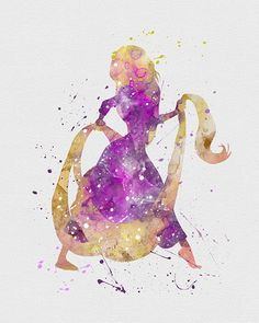 Tangled Rapunzel 2 Watercolor Art - VIVIDEDITIONS