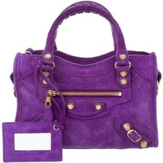 Pre-owned Balenciaga Motocross Giant 12 Mini City Bag (1 325 AUD) ❤ liked on Polyvore featuring bags, handbags, purple, purple handbags, city bag, zip purse, hand bags and handbag purse