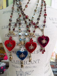 Ex Voto Heart Necklace - Sacred Heart Pendant - Catholic Jewelry - Milagro Heart Necklace - Ex Voto - Aqua Heart Necklace - French Blue Textile Jewelry, Fabric Jewelry, Heart Jewelry, Jewelry Art, Boho Jewelry, Catholic Jewelry, Sacred Heart, Heart Art, Stone Beads