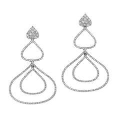 18k White Gold Pave Diamond Drop Earrings  NK19126W #jewelry #earrings #diamond