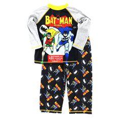CLEARANCE ALERT!!  Batman and Robin Boys Poly Pajamas (Batman & Robin Adventure, Size 8 only): Clothing