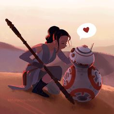 Rey & BB-8 by Mariposa-Nocturna