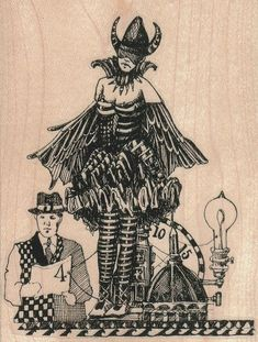 steampunk collage   rubber stamp  whimsical  by pinkflamingo61, $8.70