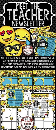 Meet The Teacher Newsletter Emoji EDITABLE is perfect for your busiest time of the year! This perfect and easy Meet the Teacher • Open House • Meet The Teacher Letter tool is a wonderful way for parents and your new students to get to know All About YOU. Your parents and students will walk away getting a glimpse about you and their new school year!