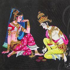 Lord Krishna applying alta to his beloved radha.