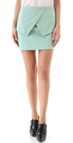 Tibi Sateen Peplum Skirt -- love the modified peplum