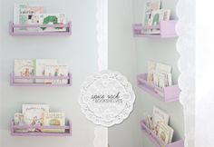 spice racks from 'Ikea' for an amazing $7 a piece, painted them with acrylic paint in a lovely shade of lilac, put them together and then my handy husband hung them up in Leah's room to feature some of her favourite books! Why not try them out this weekend for yourself?