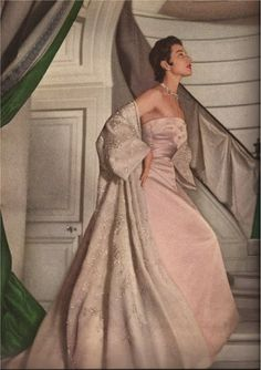 Outfit by Dior, photograph by Henry Clarke for Vogue 1953.