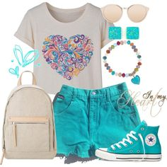Love.Heart by annetkor on Polyvore featuring мода, Converse, MANGO, Linda Farrow, love, shorts, converse and heart