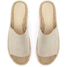 Mint Velvet Beth Espadrille Slider Sandals (255 PEN) ❤ liked on Polyvore featuring shoes, sandals, flats, slip on sandals, flat pumps, flat slip on sandals, low heel sandals and flatform espadrille sandals