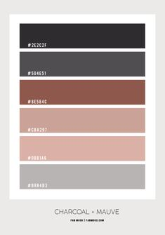 Charcoal and Mauve Pink Bedroom Color Scheme Bedroom Colour Schemes Neutral, Peach Color Schemes, Bedroom Colour Palette, Color Schemes Colour Palettes, Earthy Color Palette, Paint Color Schemes, Bedroom Wall Colors, Living Room Colors, Paint Colours