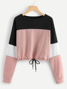 To find out about the Drawstring Hem Color Block Sweatshirt at SHEIN, part of our latest Sweatshirts ready to shop online today! Girls Fashion Clothes, Teen Fashion Outfits, Mode Outfits, Outfits For Teens, Woman Outfits, Clothes For Women, Ootd Fashion, Stylish Clothes, Fashion Dresses
