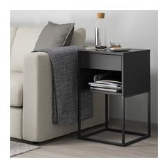 IKEA - VIKHAMMER, Nightstand, black, The drawers close silently and softly, thanks to the integrated soft-closing function. Ikea Bedroom, Home Bedroom, Bedroom Furniture, Metal Nightstand, Affordable Furniture, Bed Styling, Home Furnishings, Living Room Decor, Home Decor