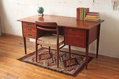 Danish Teak Mid Century Double Sided Desk RESERVED for NAKEISHA