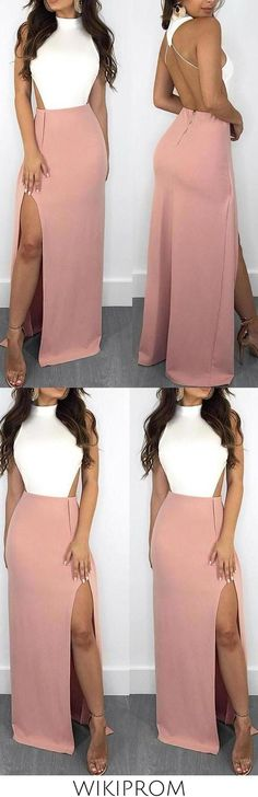 Elegant Mermaid White and Pink Halter Backless Satin with Slit Sleeveless Prom Dresses WK630, This dress could be custom made, there are no extra cost to do custom size and color Split Prom Dresses, Long Bridesmaid Dresses, Make Your Own Dress, Elastic Satin, High Waisted Skirt, Backless, Mermaid, Elegant, Pink