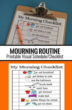 Printable Visual Schedule/ Morning Routine Checklist for kids to help getting ready for school in the mornings Visual Schedule Printable, Visual Schedule Autism, Morning Routine Printable, Morning Routine Kids, Morning Routine Checklist, Kids Schedule, Visual Schedules, Mary And Martha, Preschool Special Education