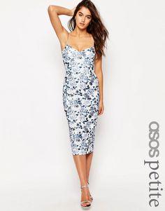 Imagen 1 de Vestido de tubo con estampado floral estilo porcelana de ASOS PETITE