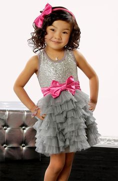 Grey & pink boutique sequin tutu dress is perfect for birthday parties, special occasions, pageants & holidays!! Love this dress!!