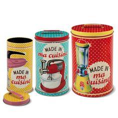 Made in ma Cuisine um conjunto de 3 latas lindas de morrer para guardarem as vossas massas, cafés, biscoitos e o que quer que seja vai ficar absolutamente delicioso no seu interior ! - Papelaria Inédita