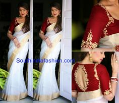 White and gold saree or sari teamed with a statement red blouse. Mallu saree