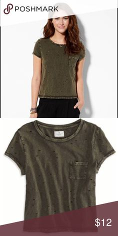 American eagle destroyed pocket-tee Soft cotton jersey, easy silhouette, all over destroyed detail, crew neck,chest patch pocket, olive green American Eagle Outfitters Tops Tees - Short Sleeve