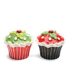 Another great find on #zulily! Holly Cupcake Salt & Pepper Shaker Set #zulilyfinds