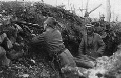 In the German trenches.