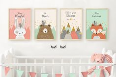 SALE nursery print set of 4, Woodland nursery, Nursery print, Nursery set, Nursery set of 4 print, Print set of 4, Set of 4 printable, Coral. ❥ Be right on trend with this HOT SALE of a woodland nursery PRINTABLE set of 4, featuring 3 adorable woodland animals, fox, bear, and bunny, along with a beautiful mountains view, in a trendy color scheme of coral and mint, and inspirational nursery quotes: Fox: Keep Clever Bunny: Stay Playful Bear:Be Brave Mountains: Follow your Dreams. This…