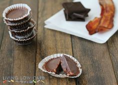 Chocolate and Bacon Candies (Low Carb and Paleo Friendly).Holy mother of Yes Please. And the recipe is super simple. via Cote Cote living Low Carb. One Day at a Time Low Carb Candy, Low Carb Sweets, Low Carb Desserts, Healthy Sweets, Mini Desserts, Low Carb Recipes, Real Food Recipes, Dessert Recipes, Paleo Recipes