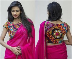Boat Neck Blouse Designs - Fancy Kutch Work And Patchwork MulticolouredGeorgette Blouse With Cap Sleeves And Solid Back